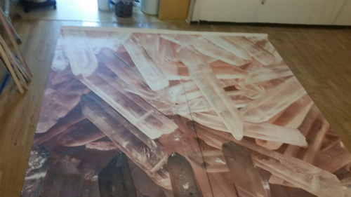 aligning the panels of the crystal mural from Anna Fell at https://www.muralswallpaper.co.uk/