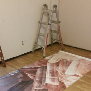 first panel on the floor, getting ready to hang, https://www.muralswallpaper.co.uk/
