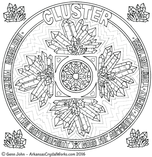 CLUSTER Crystal Mandalas: Anatomy and Physiology of Quartz Crystals by Genn John