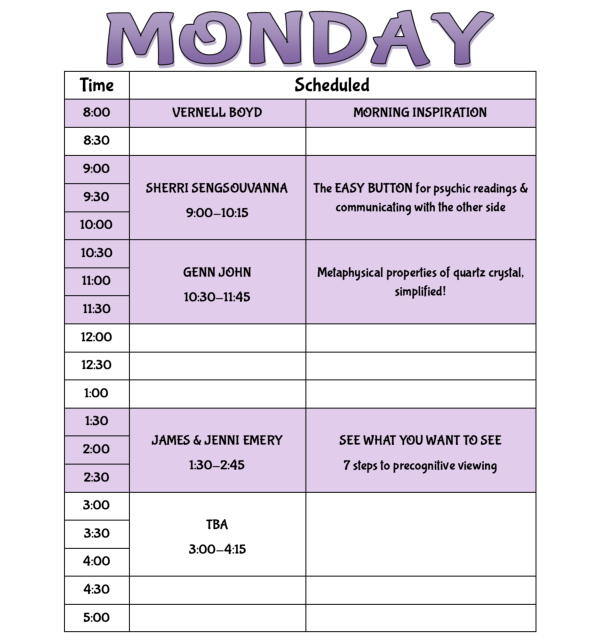 Ozark Research Institute schedule of speakers MONDAY April 16th 2018