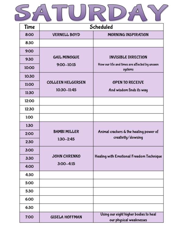 Ozark Research Institute schedule of speakers SATURDAY April 14th 2018