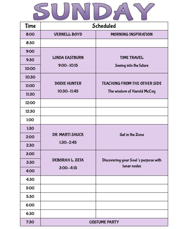 Ozark Research Institute schedule of speakers SUNDAY April 15th 2018